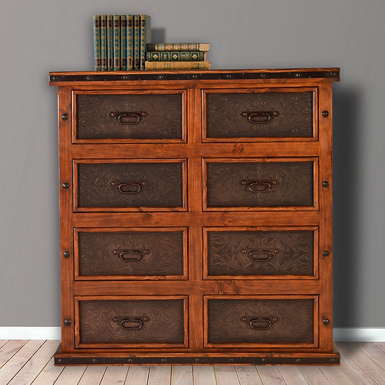 Eight Drawer Leather Chest