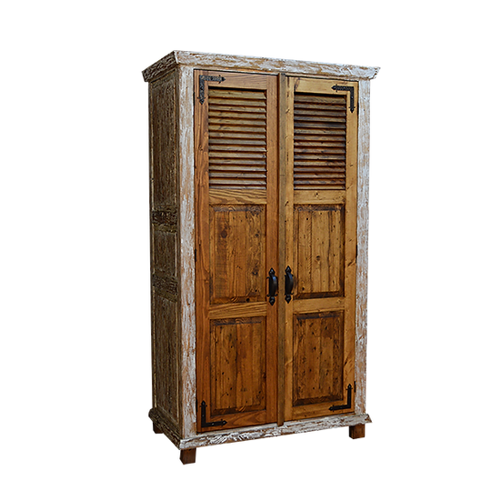 Reclaimed Wood Armoire with Iron Frame