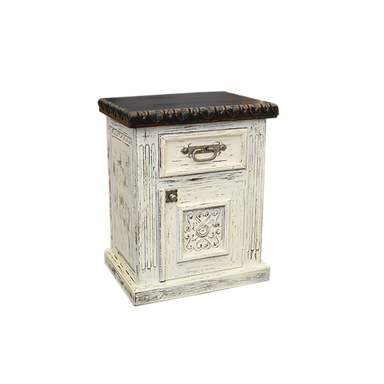 Hand Carved White Distressed Nightstand