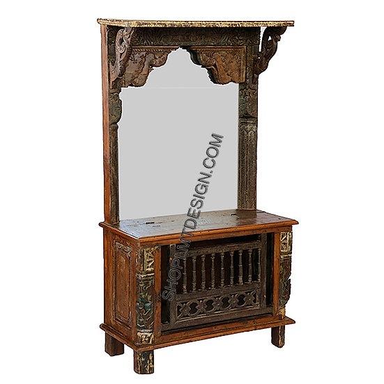 Hall Tree/Dresser with Wood Lift Top and Antique Carved Panels