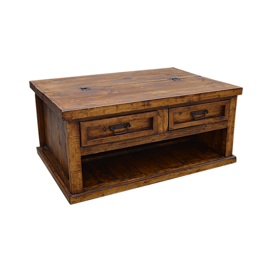 Rustic Coffee Table with Hinged Top