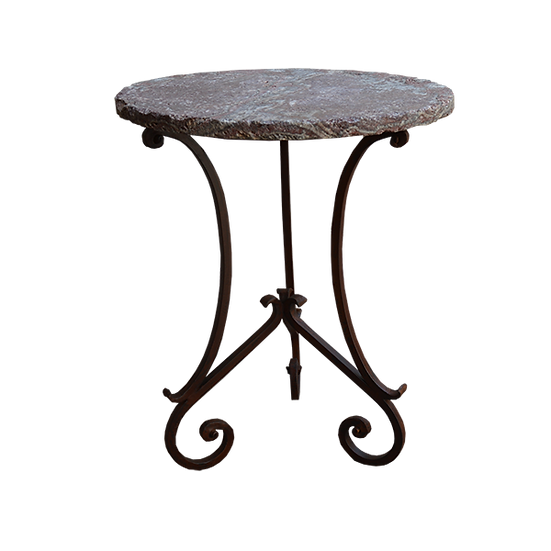 Stone Top and Iron Base Pub Table