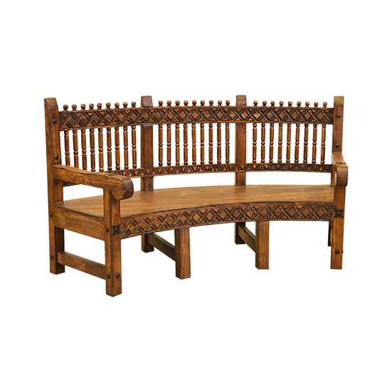 Hand Carved Curved Bench