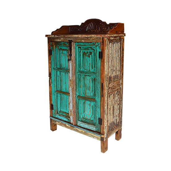 Green Wash Finish Armoire with Custom Carving