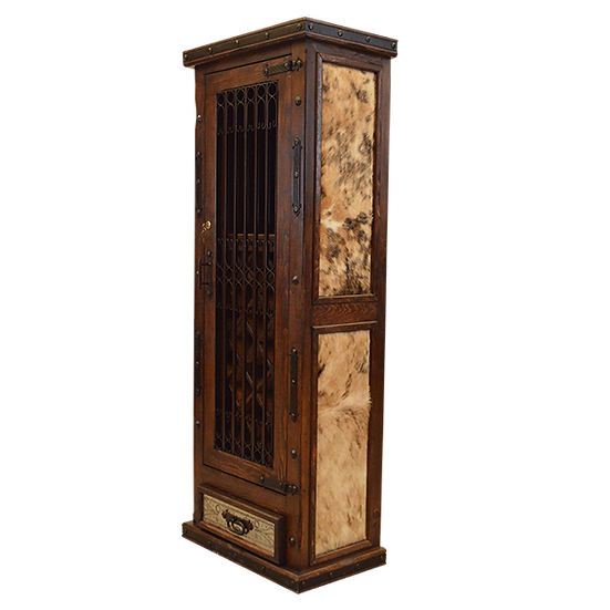 Wine Armoire with Cowhide Panels