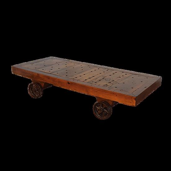 Coffee Table with Wagon Wheel Base