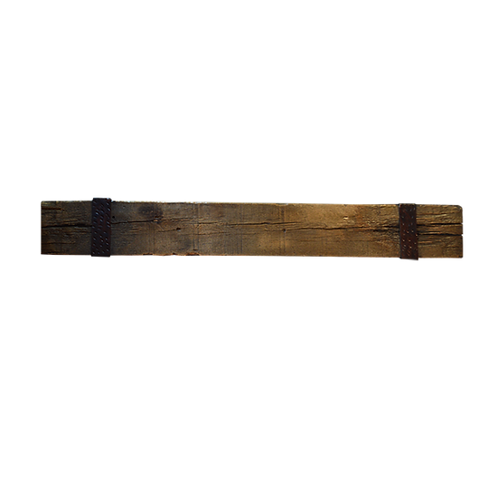 Bench made from Reclaimed Wood Beam Bound with Wrough Iron
