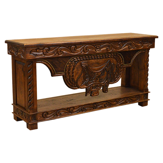 Hand Carved Saddle Stand Trunk Console