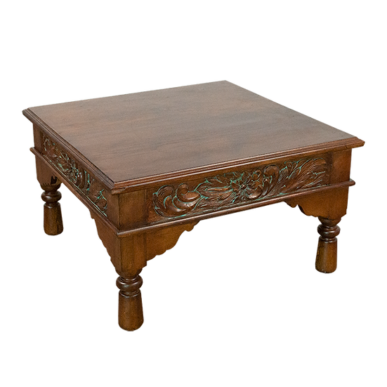 Hand Carved Turquoise Wash Coffee Table