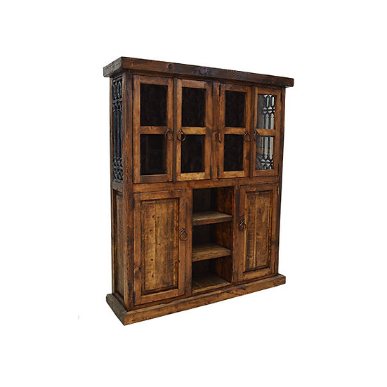 Wood Hutch/Cabinet with Iron Grating on Sides