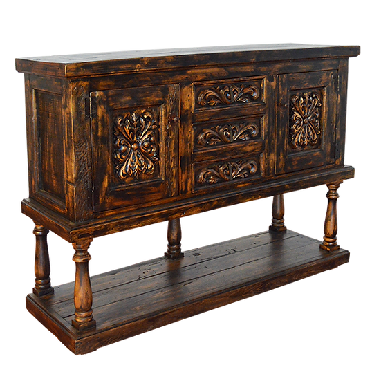 Hand Carved Black Wash Buffet/Console