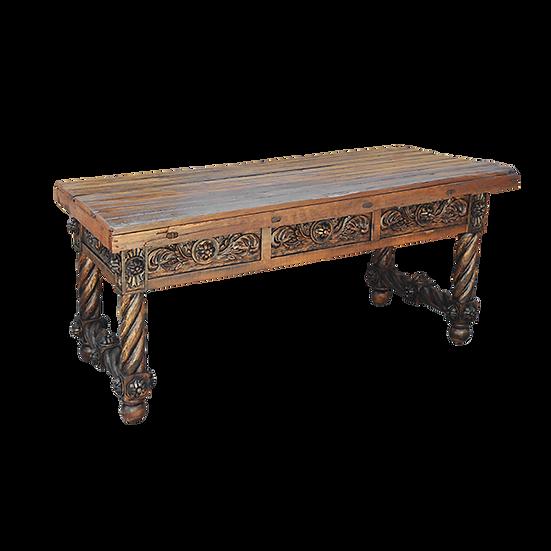 Hand Carved Desk in Natural Finish