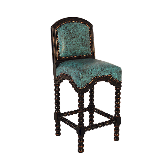 Saloon Bar Stool with Turquoise Padded Leather Seat