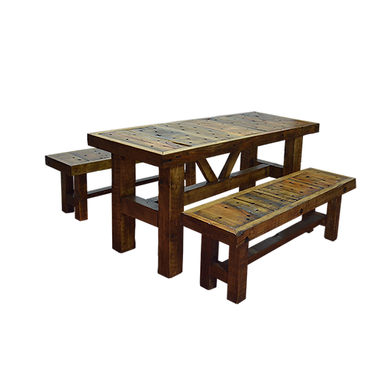 Wood Picnic Table and Bench Set