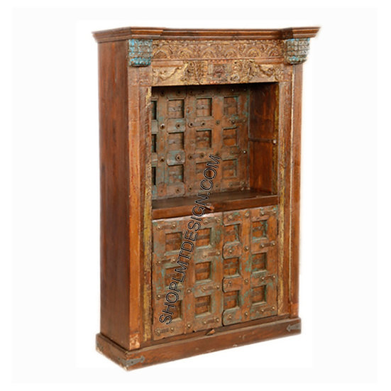 Painted and Carved Backdoor Bookcase/Cabinet