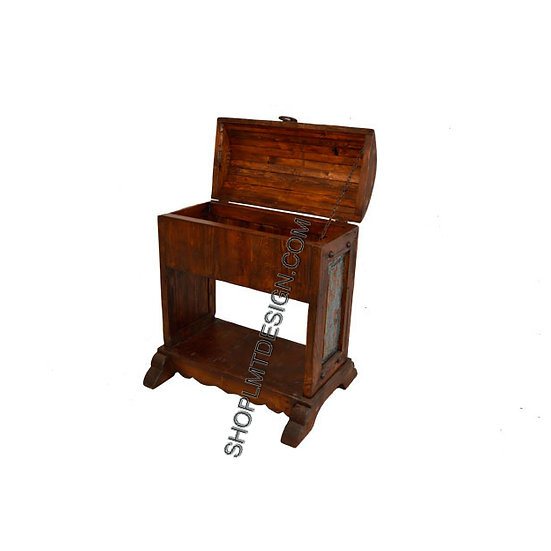 Wood Saddle Stand and Trunk with Turquoise Wash Panels