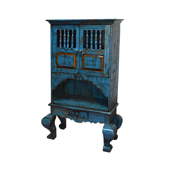 Blue Kitchen Cabinet with Turned Legs