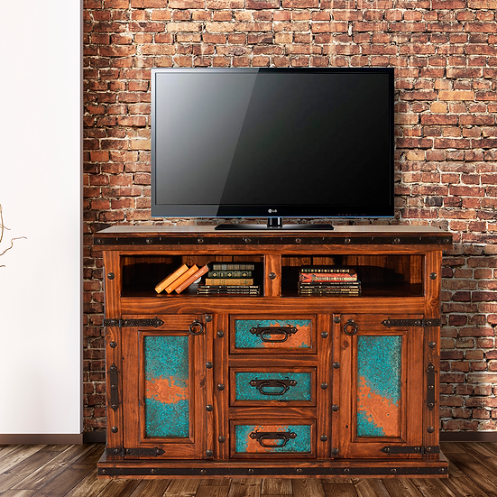 Turquoise Copper TV Console