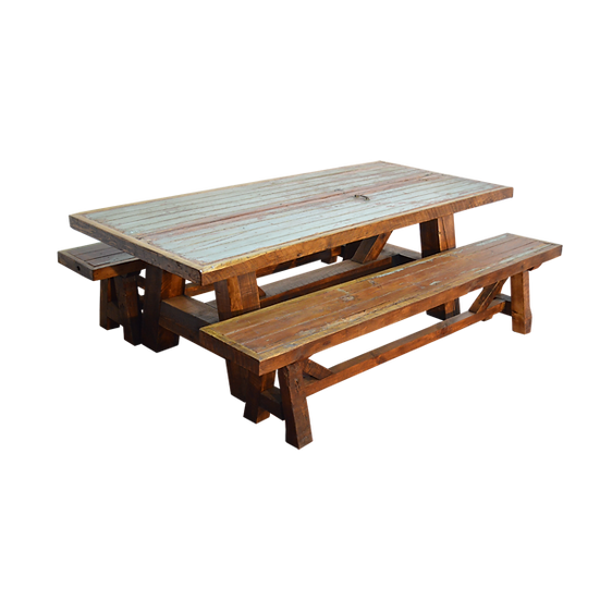 Picnic Table with Gray Wash Finish