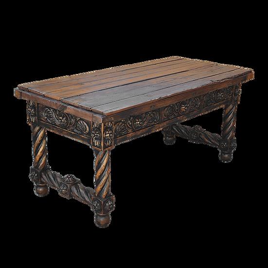 Hand Carved Desk with Blackwash Finish