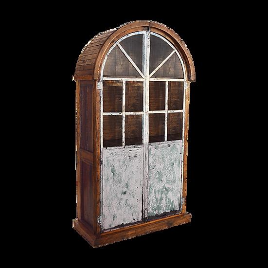 Reclaimed Arched Steel Door Armoire