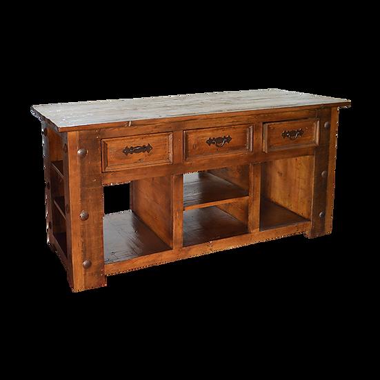 Solid Wood Rustic Kitchen Island