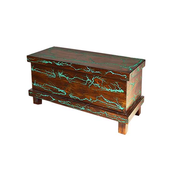 Bed Trunk with Turquoise Resin Highlights