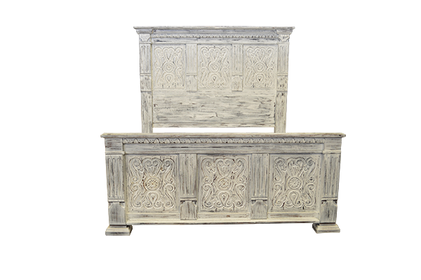Hand Carved Distressed White Bed