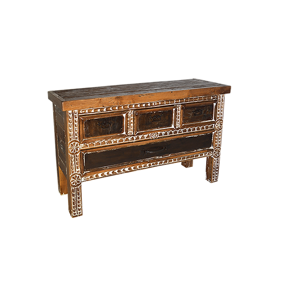 Carved, White-Wash Console
