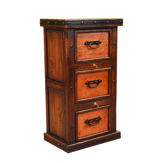 Standing Three Drawer Copper Filing Cabinet