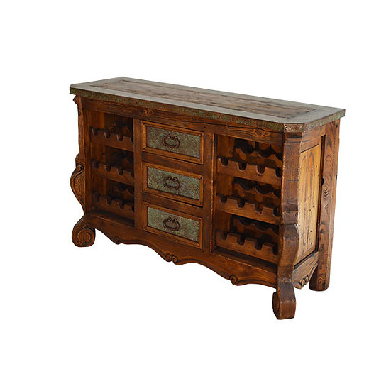 Copper Wine Console with Three Drawers