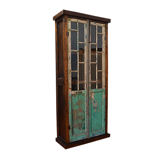 Repurposed Old Door with Glass Windows Armoire