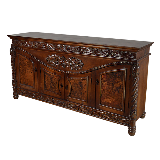 Copper Panel Buffet with Hand Carved Decor