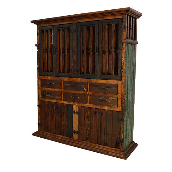 Unique Rustic Cabinet with Six Drawers,Four Doors and Upper Jail House Cabinet