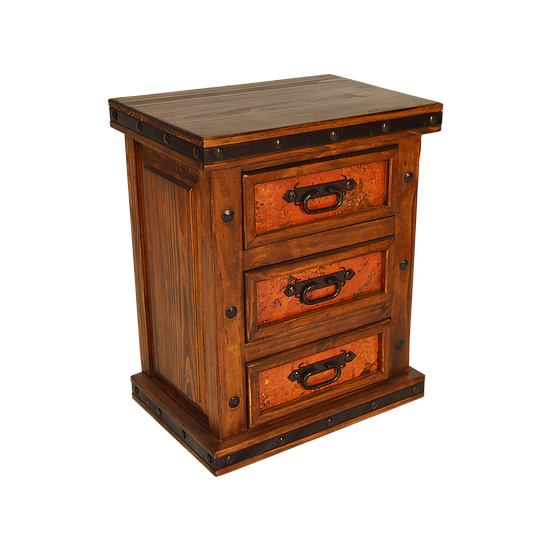 Three Drawer Copper Nightstand