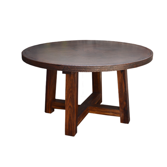 Round Copper Top Table with Parota Wood Base