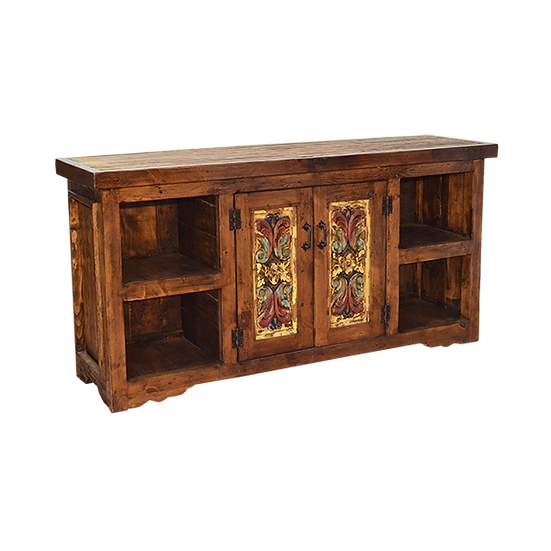 Hand Carved and Hand Painted Credenza