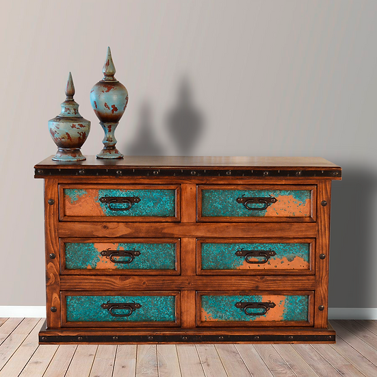 Six Drawer Turquoise Copper Dresser