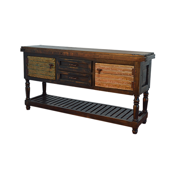 Two Level Credenza made from Old Doors and with Bicolor Finish