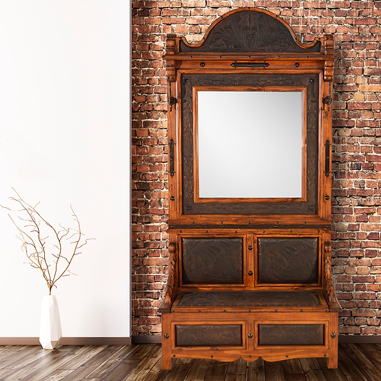Leather Hall Tree with MIrror
