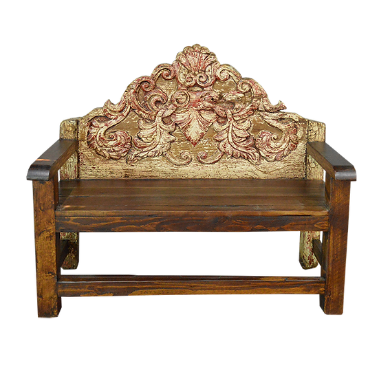 Original Old Wood Headboard Bench