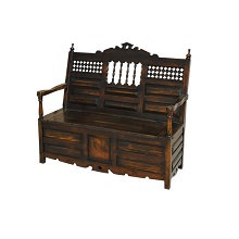 Antique Headboard Bench with Trunk Seat
