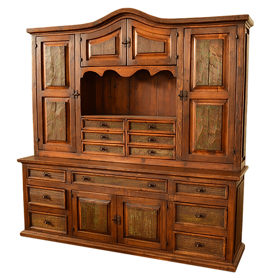 Hand Hewn Solid Wood 2 Piece Buffet/Cabinet