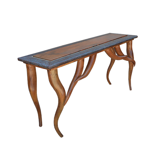 Unique Copper Top Console Featuring Hand Carved Horn Legs