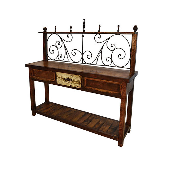 Iron Back Hutch with One Drawer