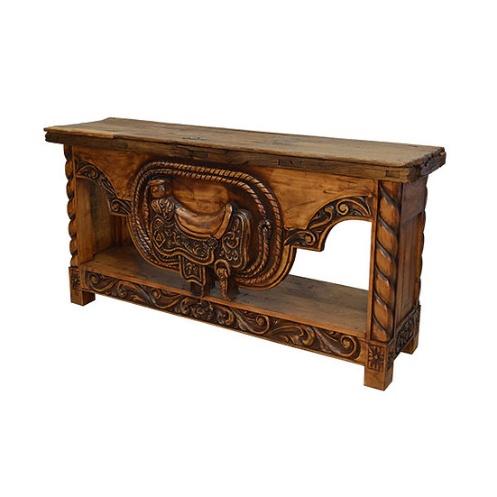 Hand Carved Saddle Stand Credenza in Natural Finish