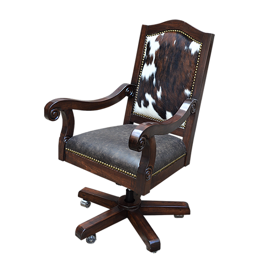 Executive Desk Chair with Cowhide and Leather, Dark Wood Stain