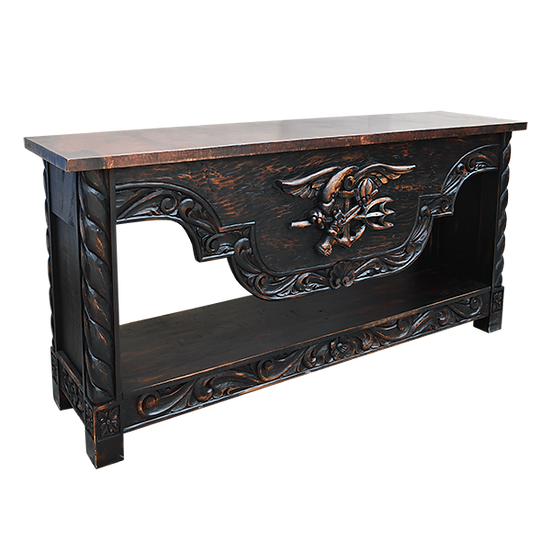 Credenza with Hand-Carved Navy Seal/American Eagle in a Black Wash Finish