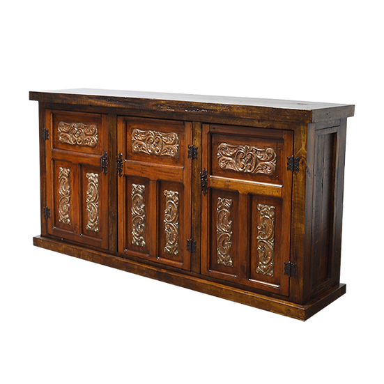 Hand Carved Console with Dust Finish