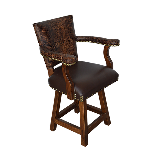 Leather Barstool with Arms